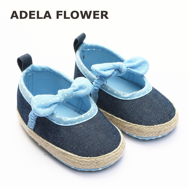 1ea25024a8cd Cute Butterfly Knot Denim Baby Girl Shoes Prewalker First Walkers Soft Sole  Toddler Girl Shoes Calzado Nina chaussure fille 2017