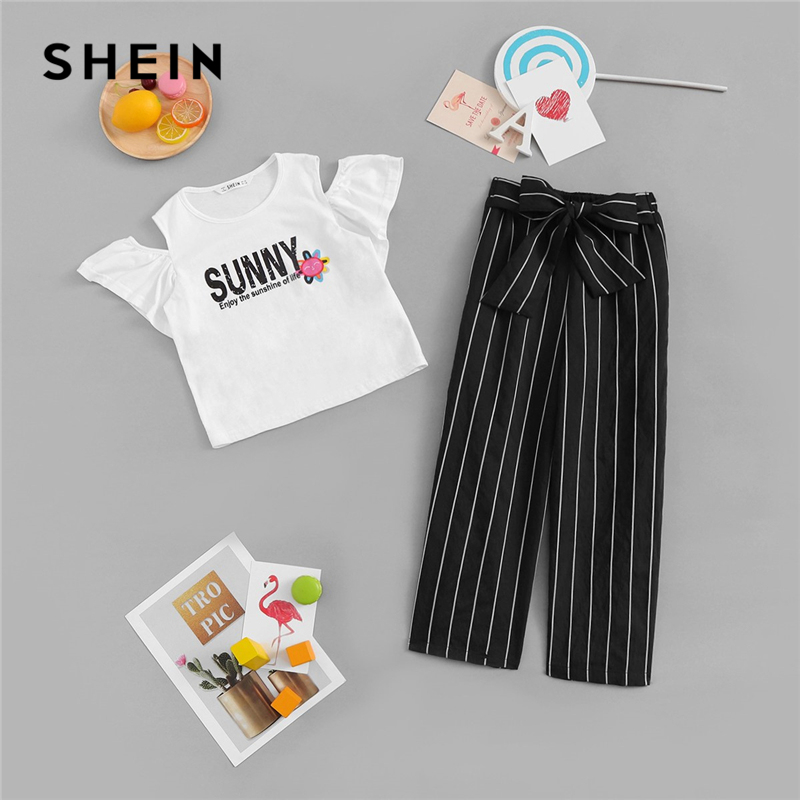 SHEIN Kiddie Black Cold Shoulder Letter Print Top And Knot Pants Set Girls Sets Clothing 2019 Summer Short Sleeve Casual Suit puff sleeve crop top and wide leg pants set