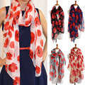 Women Gorgeous Poppy Print Long Winter Warm Flower Scarves Stole Shawl Pashmina W1