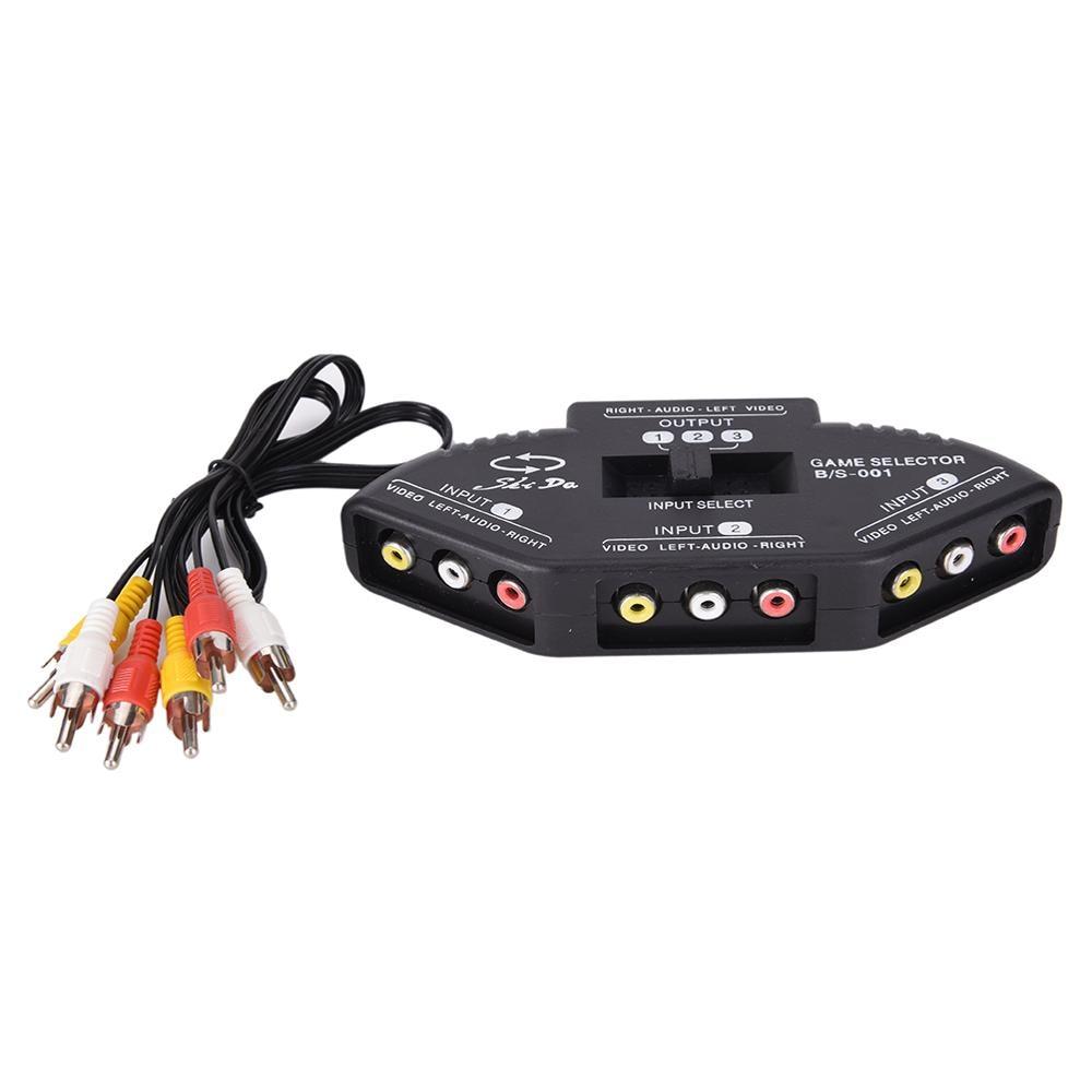 Tonbux 3 vías Audio Video AV divisor de RCA interruptor negro Selector caja divisor con/3 RCA Cable
