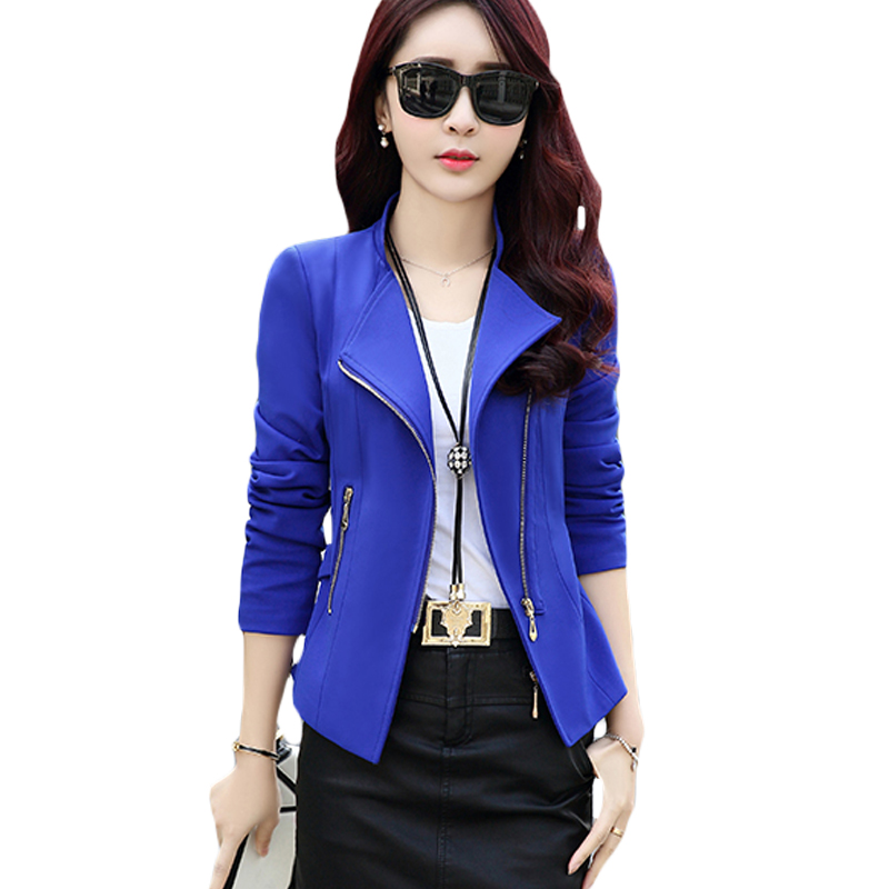 Fashion Jacket Coat Women Female Spring Autumn Coat Slim Fit Long Sleeve Zippers Short Version Ladies Black Jacket Popular XH293 ...