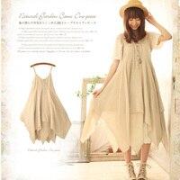 New Mori Girl Sweet Dress Women S Solid Color Button Embroidery Spaghetti Strap Cotton Linen Female