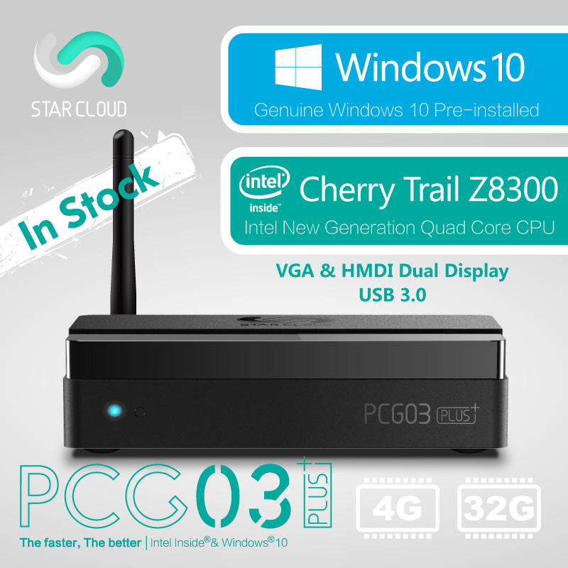 Fanless Windows 10 Mini PC Desktop Star Cloud PCG03 Plus 4GB 32GB Intel Cherry Trail Z8300 HDMI VGA USB3.0 LAN WiFi Bluetooth ddr4 ram 7th gen kaby lake i7 7500u mini pc windows 10 fanless computer 4k hdmi dp htpc 300m wifi dhl free