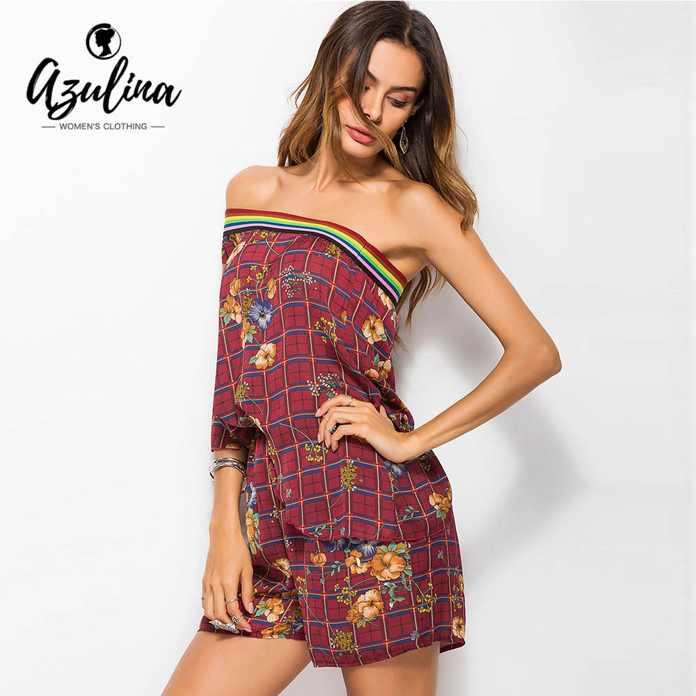 AZULINA Boho Plaid Floral One Shoulder Romper Women Sexy Jumpsuit 2018 Summer Beach Playsuit Rainbow Piecing Playsuits Overalls