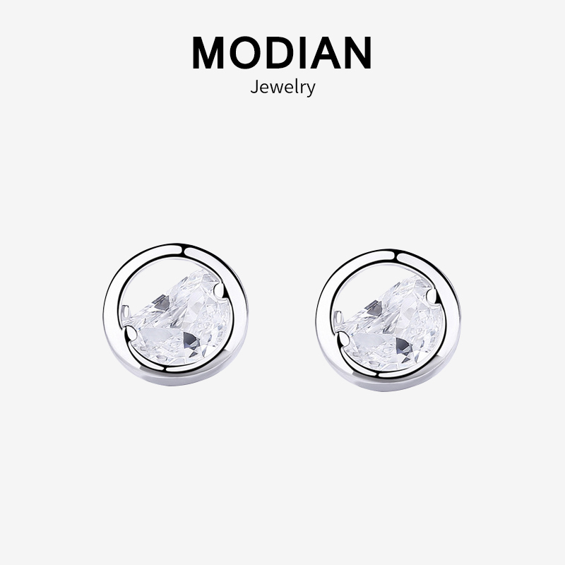 Modian New Arrival Charm Punk Real 925 Sterling Silver Clear Cubic Zirconia Round Lucky Stud Earrings For Women Silver Jewelry