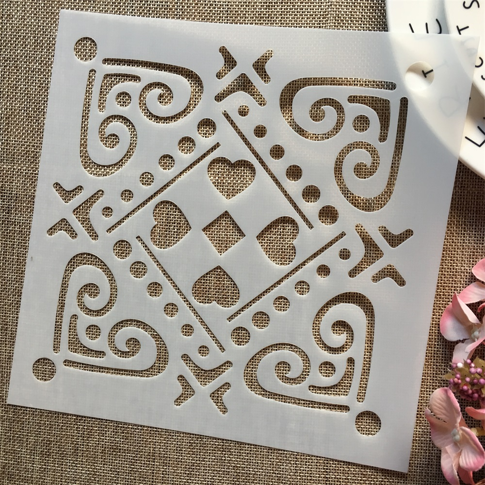 1Pcs 8*8inch Heart Square Frame Dot DIY Layering Stencils Painting Scrapbook Coloring Embossing Album Decorative Template