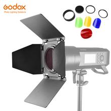 Godox BD-08 drzwi stodoły z siatką o strukturze plastra miodu i kolorowe filtry dla Godox AD400Pro zewnętrzna lampa błyskowa światło stroboskopowe tanie tanio AMBITFUL