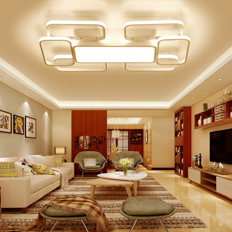 New Square Rings Chandelier For Living Room Bedroom Home AC85-265V Modern Led Ceiling chandelier lighting Fixtures Free Shipping