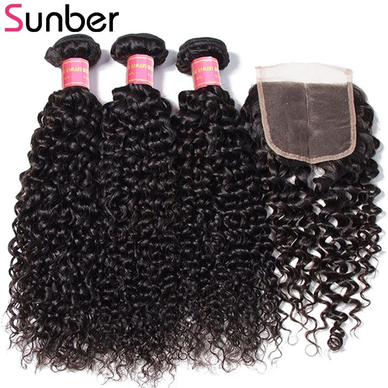 Sunber Hair Brazilian Curly Hair 3 Bundlar With Closure Remy - Mänskligt hår (svart)
