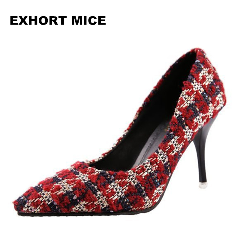2018 Women Pumps Sexy High Heels Shoes Fashion Pointed Toe Wedding Shallow mouth pointed Classics knitting #1