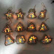 1pcs New Year Natural Wood Christmas Tree LED Ornament Wooden Hanging Pendants Gifts Snow Elk Christmas Decorative for home tree