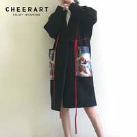 Cheerart Kimono Coat Women Winter Long Wool Coat Plus Size Black Japanese Woolen Tweed Coat Female Overcoat 2018