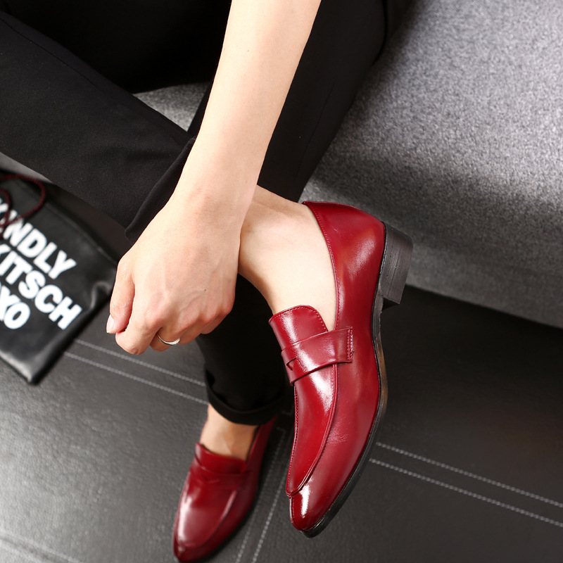 M-anxiu Solid Color Low Heel Leather Business Shoes