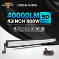 "Auxbeam 42inch Cree Chips 400W Curved Led Light Bar for Car Combo Offroad LED Work Light Bar SUV Driving Head Light 42"" Led Bar"