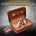 COHIBA Portable Travel Use Wooden Lining Leather Cigar Humidor Two Color For Choose W/ Cigar Cutter Cigar Lighter