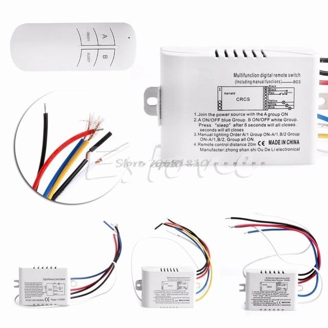 Wireless 1/2/3/Canale ON/OFF Della Lampada Interruttore di Telecomando Trasmettitore Ricevitore