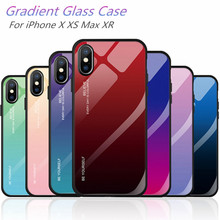 XS case For iPhone MAX XR X Cases Ultra Thin Gradient Transparent Back Glass Cover Colorful Coque Shell
