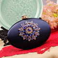 2016 NEW Europe Luxury Diamond Flower Navy Expensive Handbags For Ladies Red Evening Clutch Bags Factory Wholesale Free Shipping