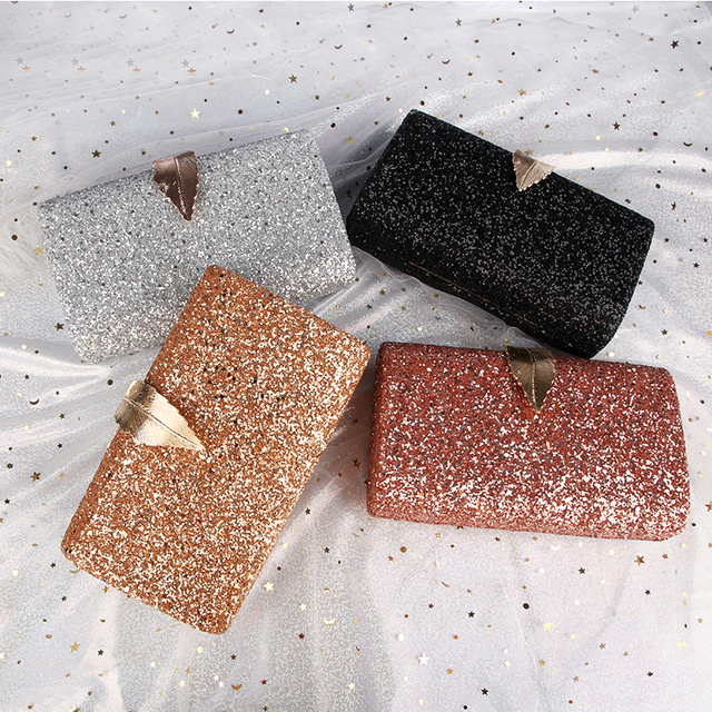 Fashion Sequined Clutch Women's Evening Bags Bling Day Clutches Gold Color Metal Leaf Lock Wedding Purse Female Handbag 1