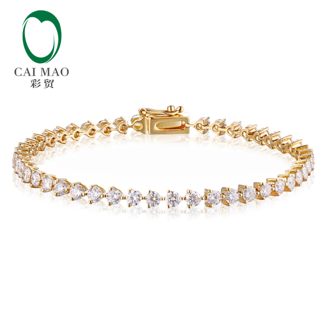 CaiMao 14KT/585 Yellow Gold 3.58ct Round Cut Diamond Engagement 16cm length Bracelets Jewelry