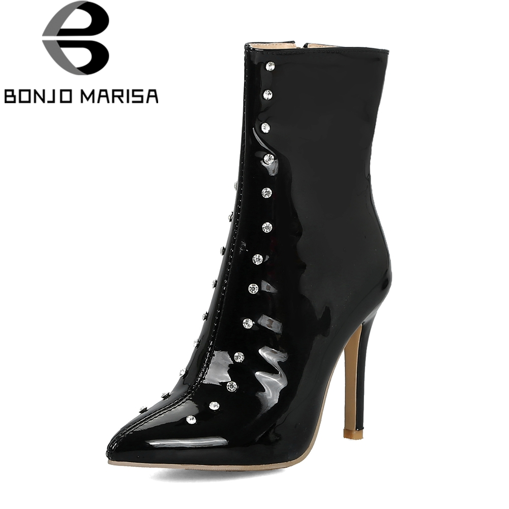 BONJOMARISA Plus Size 33-47 Brand Crystal mid-calf Boots Women Autumn 2018 Patent Pu Fur High Heels Shoes Woman Party Footwear