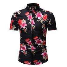 Evening dress Men Shirts Short sleeve Flower New model Stay Floral Hawaiian Beach Style Blouse Summer