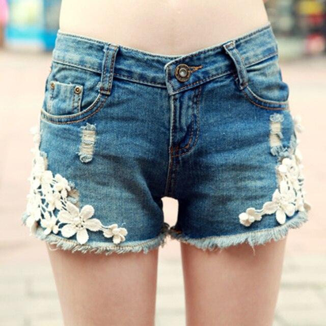 073913f9677 2017 Summer New Sexy Beach Embroidery Lace Denim Shorts Women Fashion Blue  Slim Hole New Short