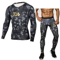 Daiwa conjuntos de roupa interior térmica dos homens compressão suor secagem rápida thermo roupa interior conjuntos de roupas de pesca longa