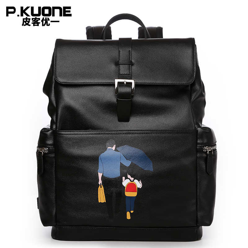 Famous brand First layer of Genuine leather Men's Backpack Fashion printing backpack Soft Cowskin Father's travel bags