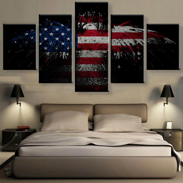 Ordinaire New Fashion American Flag Designs Wall Art Pictures Canvas Printed Bat  Designs Paintints Unframed 5 Pieces