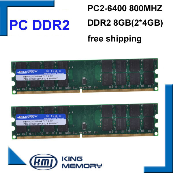 KEMBONA free shipping RAM DESKTOP PC DDR2 800Mhz 8GB (KIT of 2x4gb) ddr2 8g kit PC2-6400 only for A-M-D motherboardKEMBONA free shipping RAM DESKTOP PC DDR2 800Mhz 8GB (KIT of 2x4gb) ddr2 8g kit PC2-6400 only for A-M-D motherboard