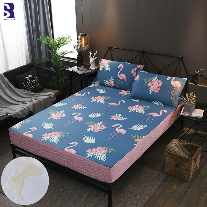SunnyRain 3 Piece Waterproof Cotton Fitted Bed Sheet Set King Size Bedsheet Mattress Protector Pocket Depth 30cm