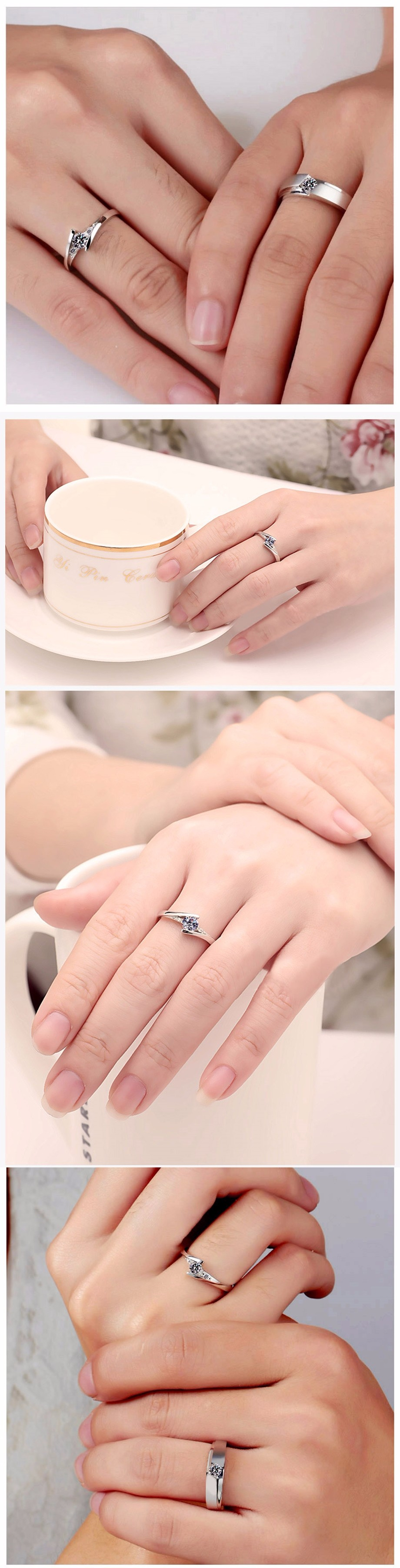 NºHigh quality lady fashion new lovers opening ring heart-shaped ...