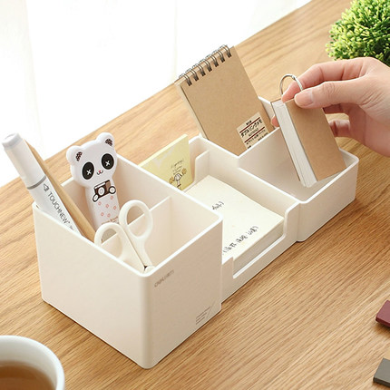 Deli 9118 multi-function pen holder desktop storage box black-white plastic multi-spaced desk multi function white radish style peeler