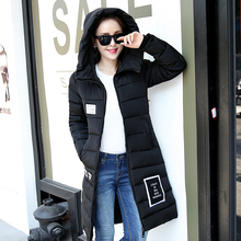 New Fashion Winter Women Thick Warm Cotton Padded MD-LONG Jacket Slim Fit Appliques Hooded Coat Quilted Parkas
