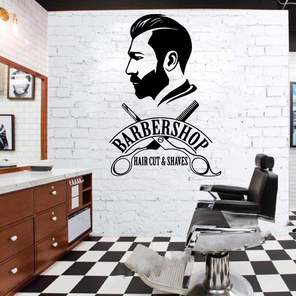Us 8 45 21 Off Custom Men S Hair Design Wall Stickers Adhesive Wallpaper Vinyl Removable Window Decoration For Barber Shop Decor Wall Murals In Wall