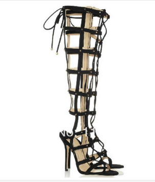 New arrival sexy cut-outs knee high gladiator lace-up women high heel sandals hollow out thin heel sheos YP01# 2015 new deluxe brand 100% high quality flat summer women knee high gladiator sandals genuine leather cut outs cover heel shoes