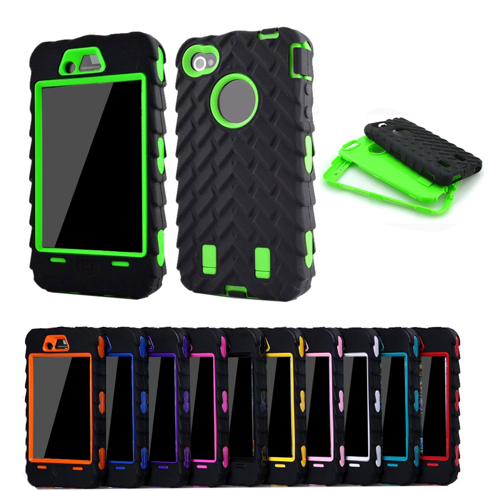 Full edge protect case for iphone 4s case tire dual layer for Grove iphone 4 case