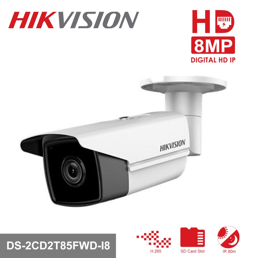In Stock Hikvision H.265 Bullet Camera DS-2CD2T85FWD-I8 8 Megapixel Network Security IP Camera PoE Built-in SD Card Slot hikvision cctv ip camera ds 2cd2t85fwd i5 i8 8mp real time video ir bullet camera network poe 80m ir range