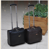 Letrend Business Rolling Luggage Casters 18 inch Men Multifunction Carry On Wheels Suitcases Trolley PU Leather Travel Bag Trunk