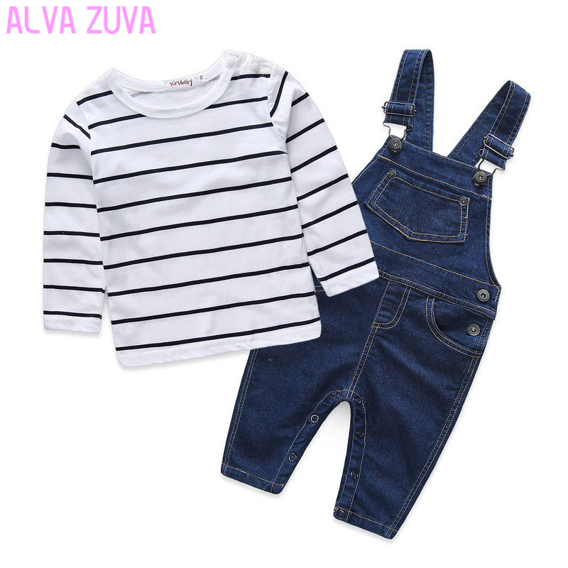 newborn clothing set cotton baby boys long sleeved striped t-shirts+bib jeans pants overalls suit bebe clothes clt206 cotton baby rompers set newborn clothes baby clothing boys girls cartoon jumpsuits long sleeve overalls coveralls autumn winter