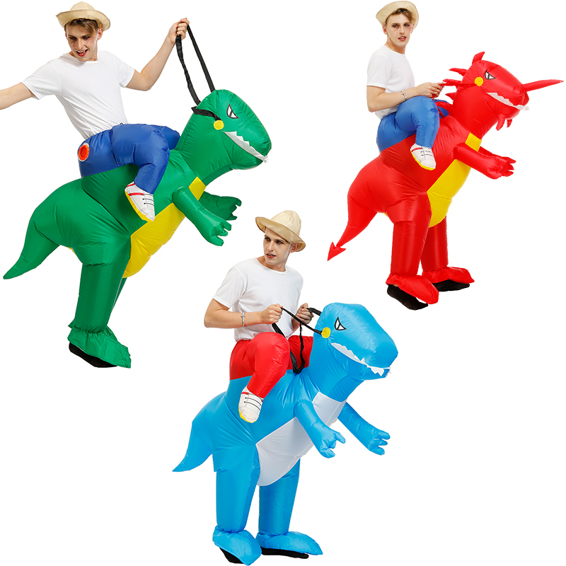 Cosplay Inflatable Dinosaur Costume Kids Cosplay Unicorn T-REX Clothing Halloween Costumes For Women Men Fantasia Party Jumpsuit