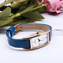 IBSO New Fashion Women Watches High Quality Genuine Leather Strap Rectangle Quartz Watch Women Crystal Diamonds Montre Femme