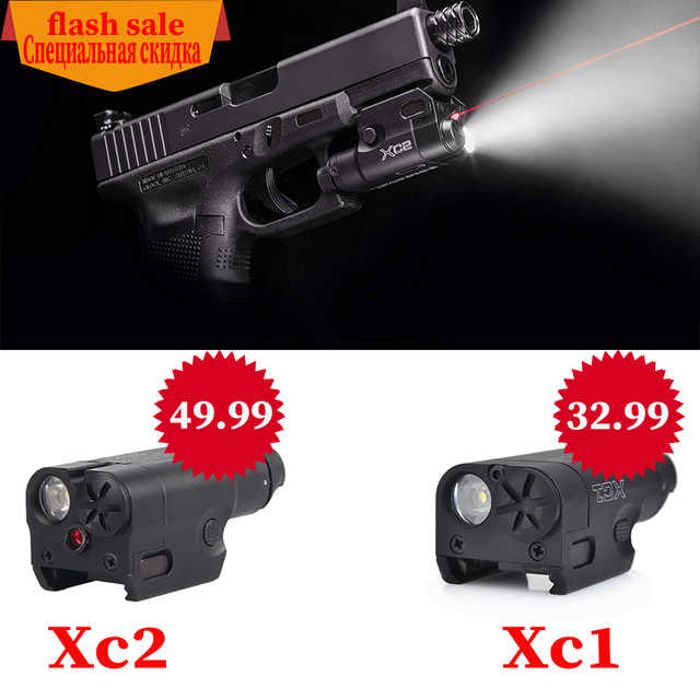 SF Hoge Lumen XC1 en XC2 Red dot Laser Licht Compact Pistol Zaklamp 20mm Tactische LED MINI Wit Licht airsoft Gebruikt