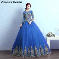 Romantic Long Sleeve Quinceanera Dresses Gold Appliques Royal Blue Princess Ball Gown Sweet Sixteen Party Pageant Prom Gowns