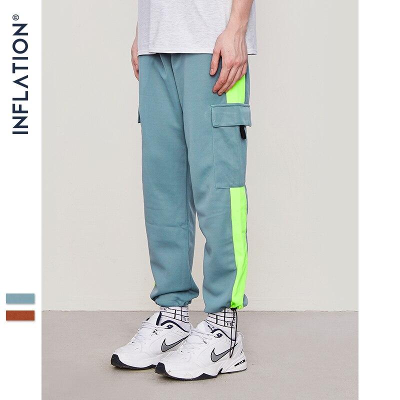 INFLATION Male Loose Harem Pants Jogger Trousers Sweatpants Patchwork Colour Hip Hop Streetwear Harem Joggers Pants Unisex 8851W