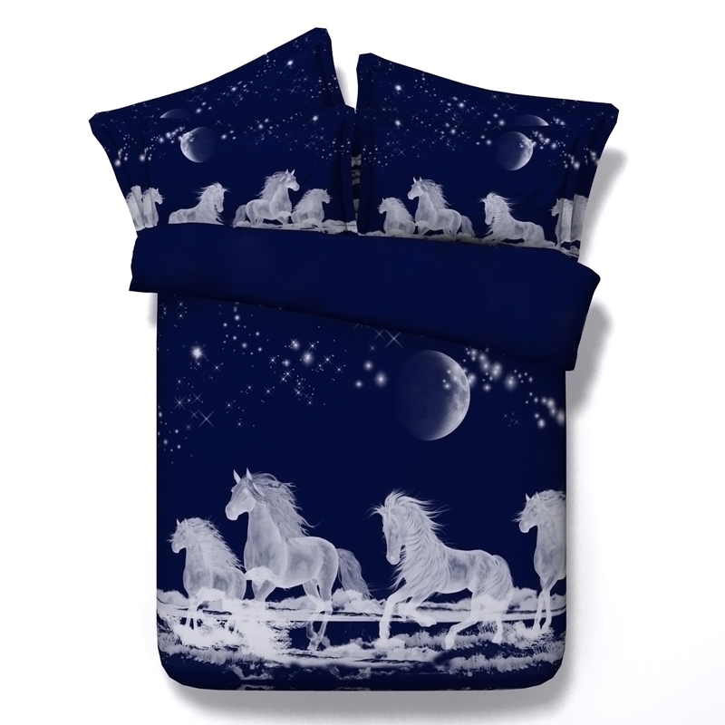 Horse Bedding sets sheet bed in a bag 3D star moon duvet ...