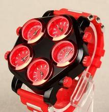 Moda mens sports relógio de pulso homem silicone relógios Múltipla Fuso Horário de quartzo Do Punk Hip hop Grande mostrador do relógio dos homens criativos