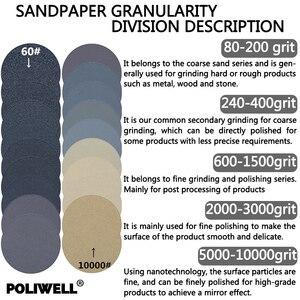 Image 3 - POLIWELL 30PCS 3 Inch Grit 60/240/3000/5000/10000 75mm Schleifen Discs Silizium hartmetall Runde Beflockung Schleifpapier Auto Polieren Werkzeug