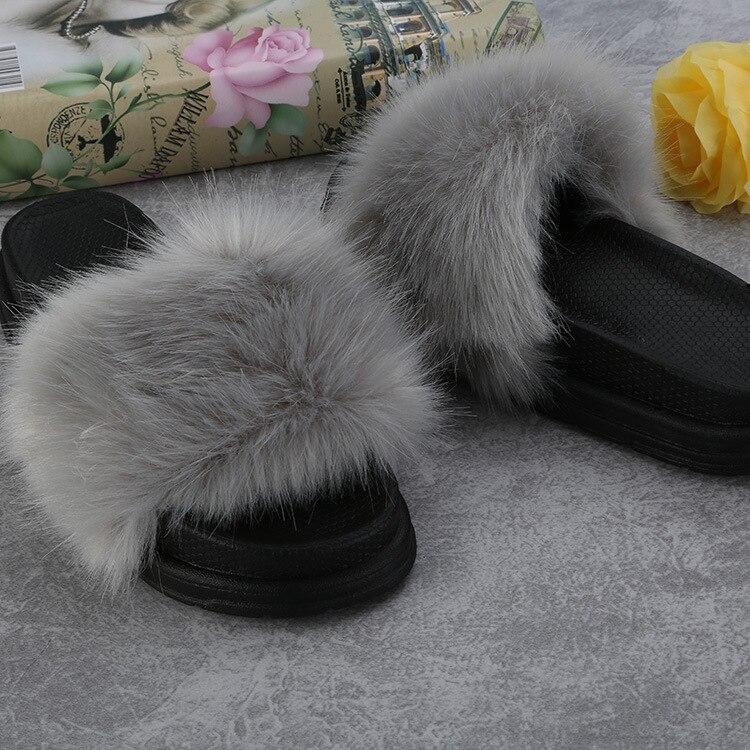 Womens Fur Slipper Plush Slides Slide Sandals Flip Fops Slip On Slides Fashion Female Indoor Outdoor Shoes Slides Anti-skidding
